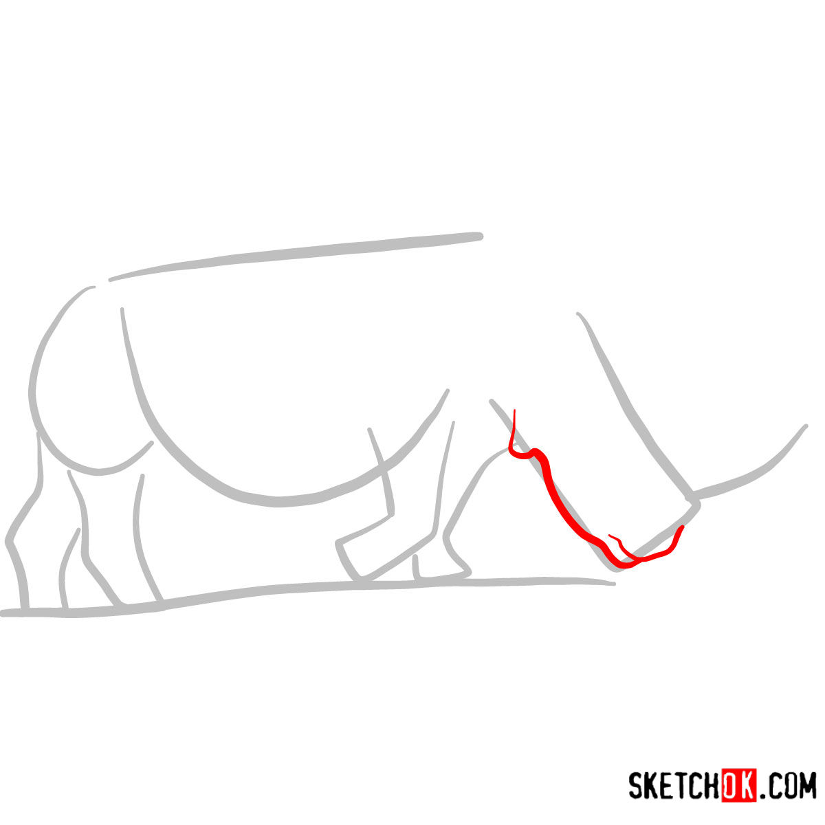 How to draw a Rhinoceros | Wild Animals - step 02