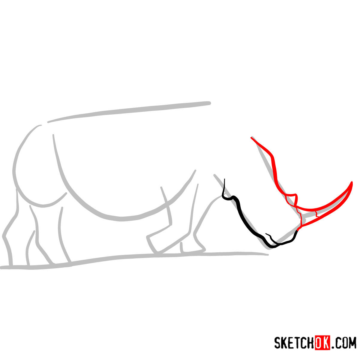 How to draw a Rhinoceros | Wild Animals - step 03