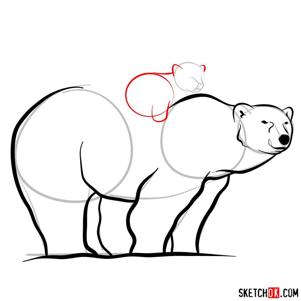How to draw a polar bear with a baby bear - step 09