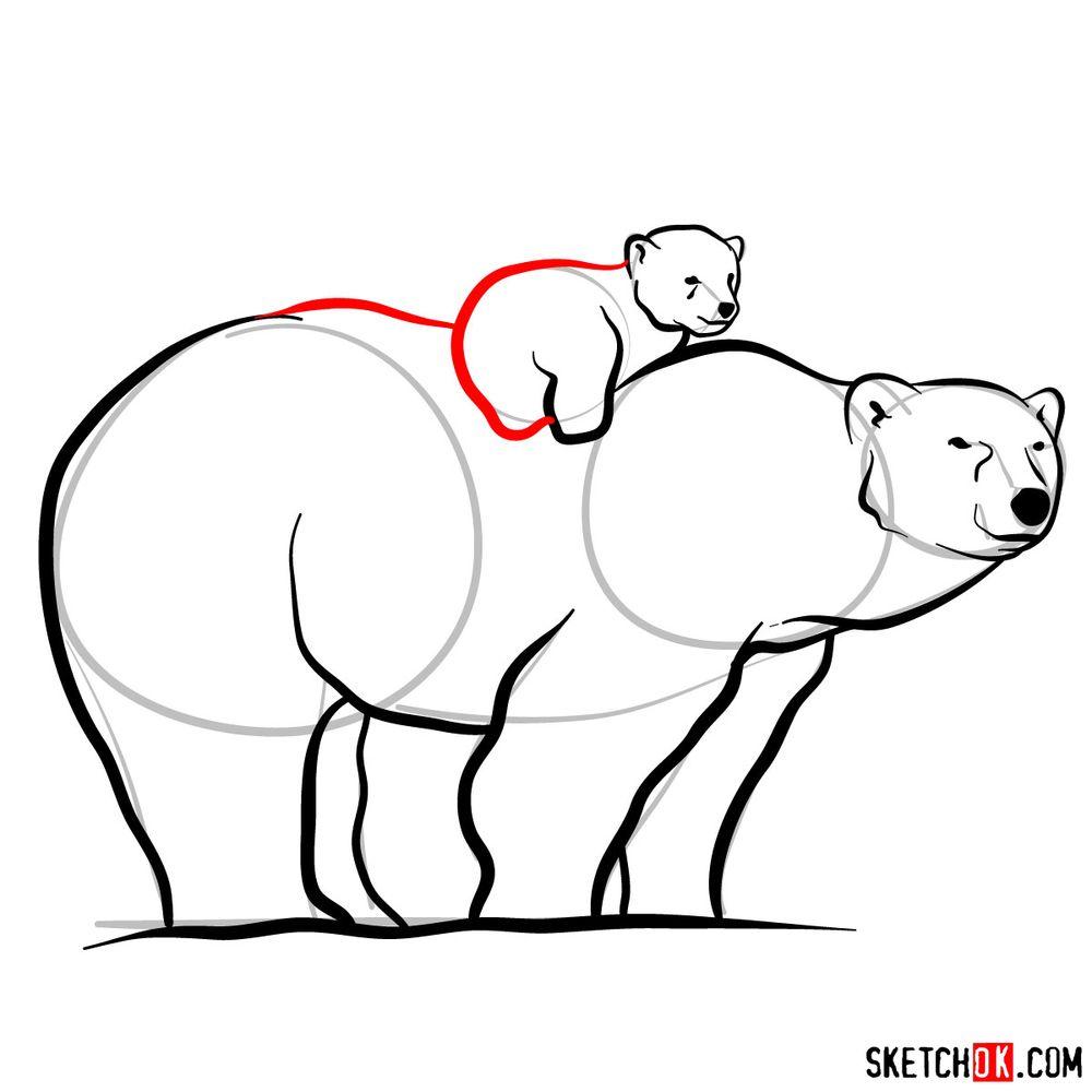 How to draw a polar bear with a baby bear - step 12