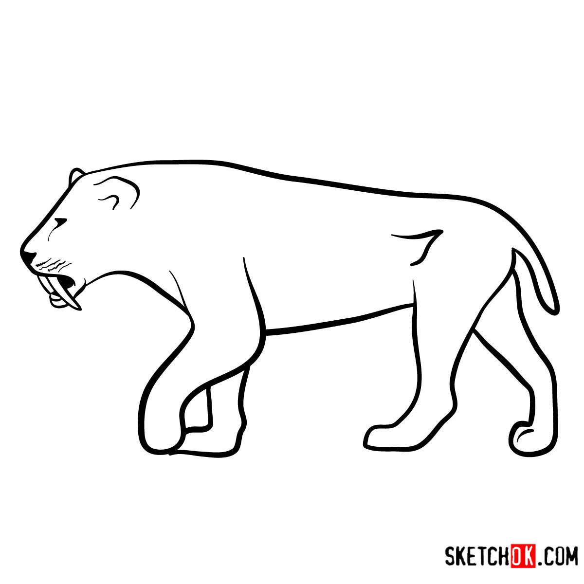 How to draw a Smilodon | Extinct Animals - coloring