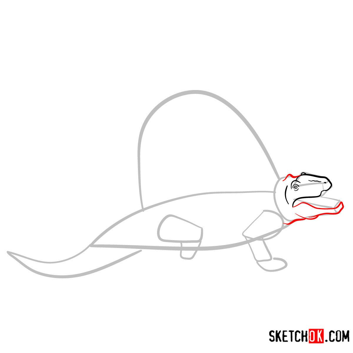 How to draw a Dimetrodon | Extinct Animals - step 04