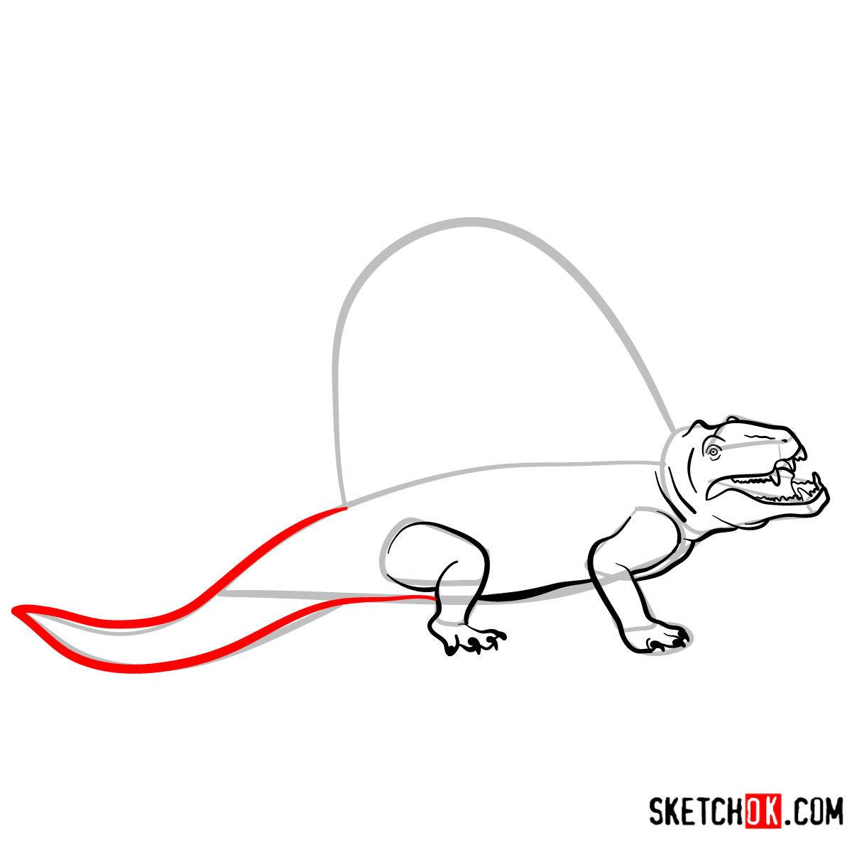 How to draw a Dimetrodon | Extinct Animals - step 09