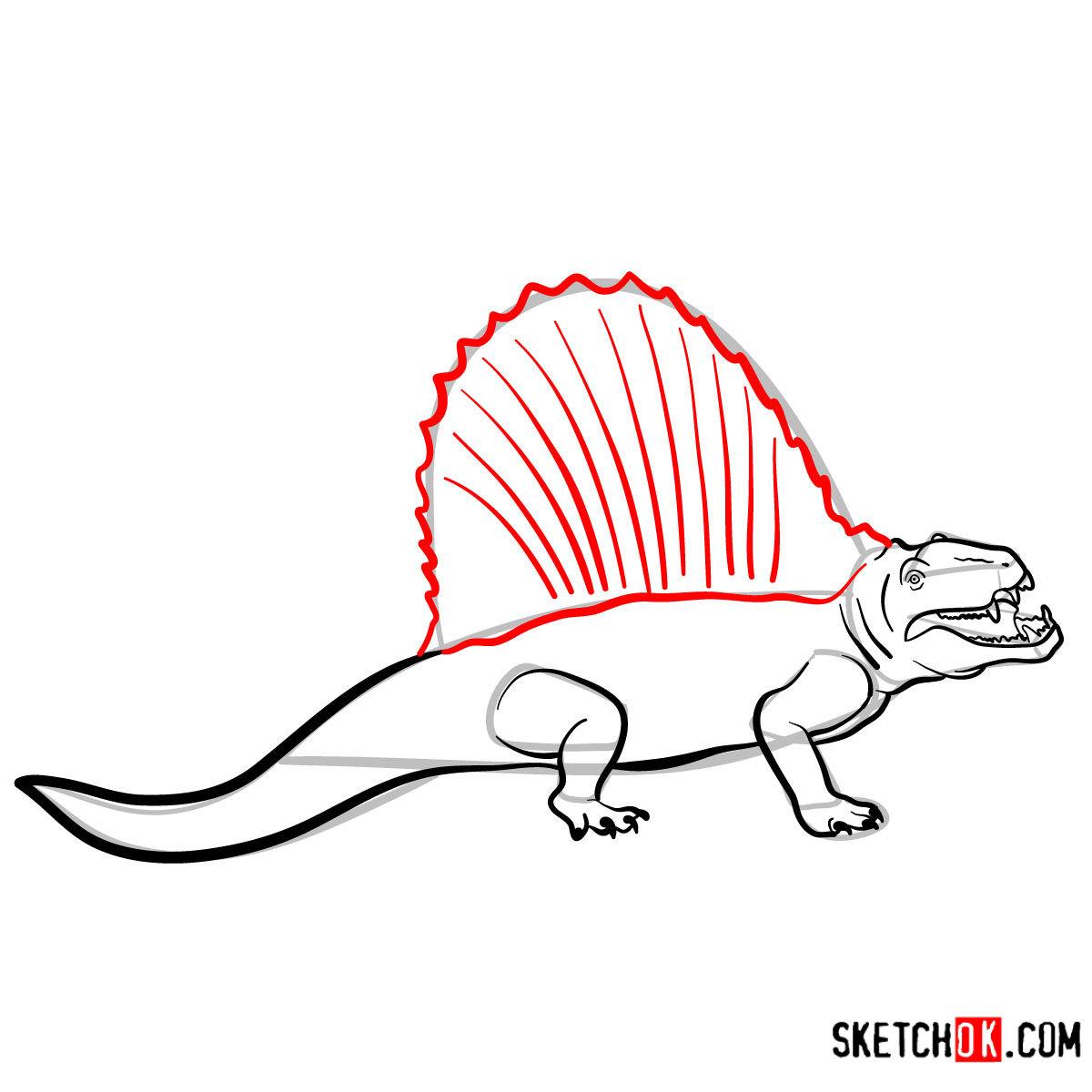 How to draw a Dimetrodon | Extinct Animals - step 10
