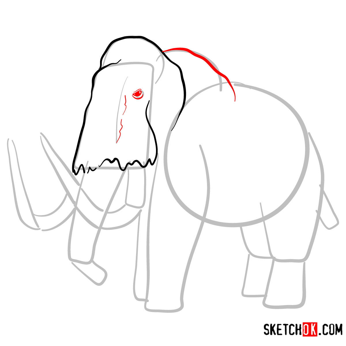 How to draw a Woolly mammoth | Extinct Animals - step 04