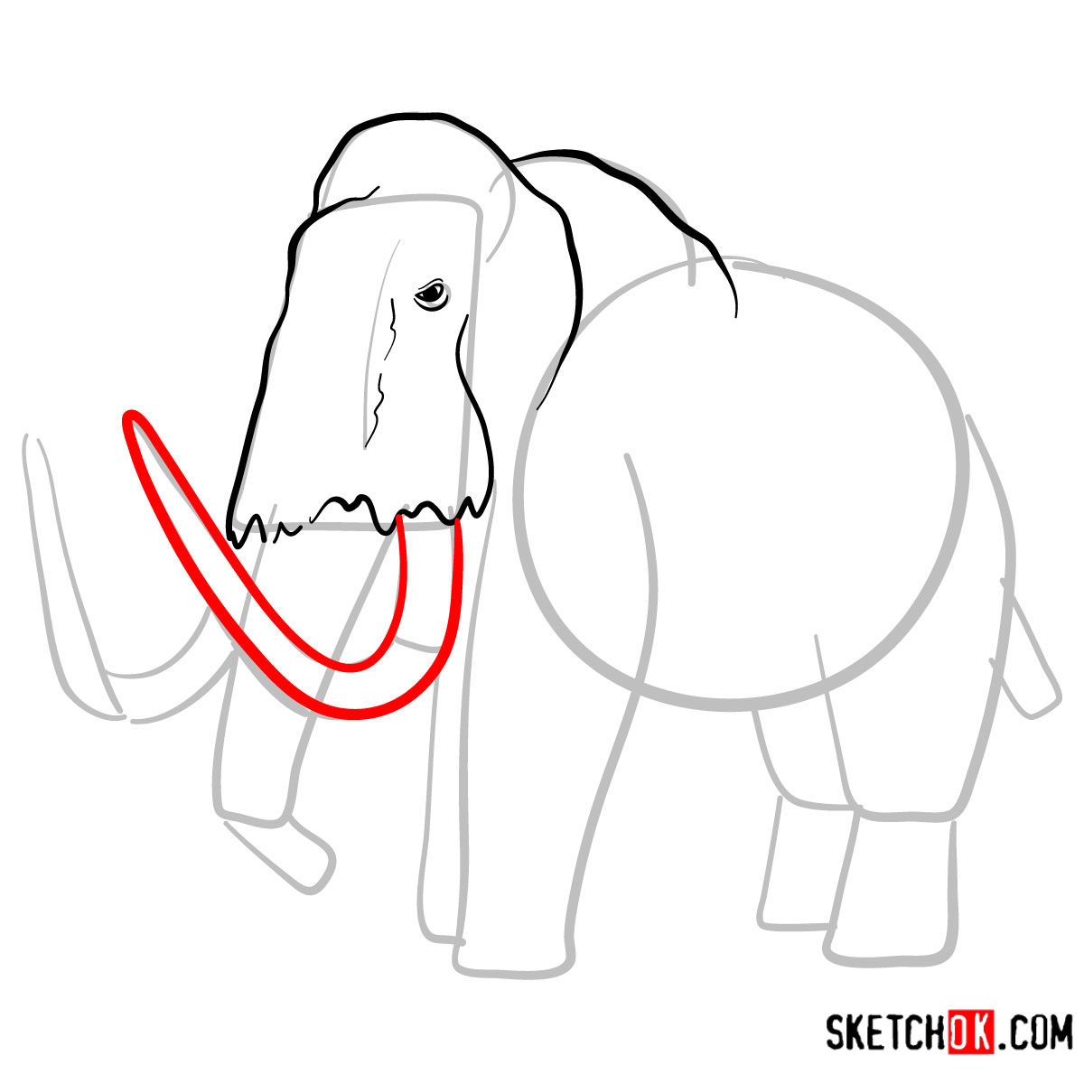 How to draw a Woolly mammoth | Extinct Animals - step 05