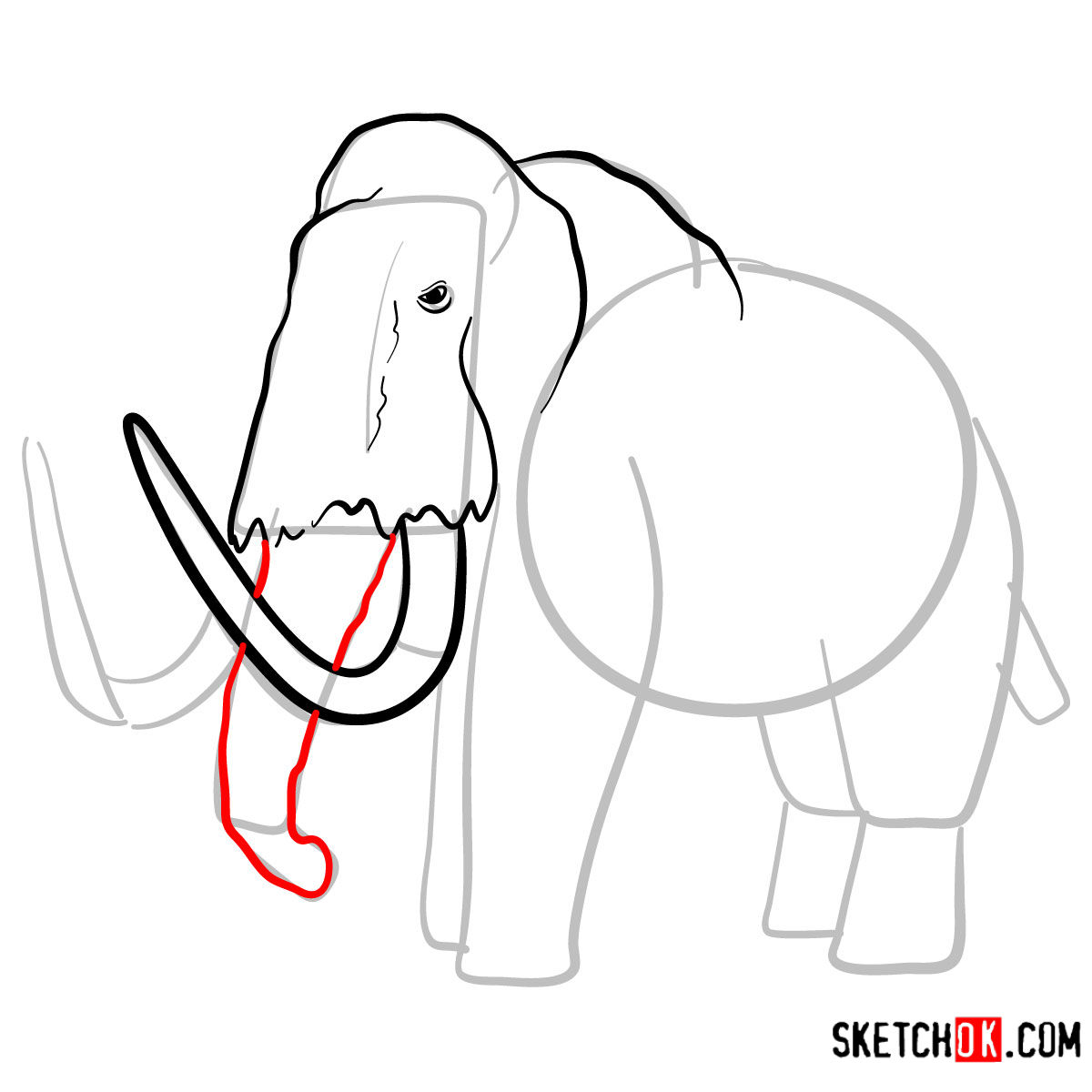 How to draw a Woolly mammoth | Extinct Animals - step 06