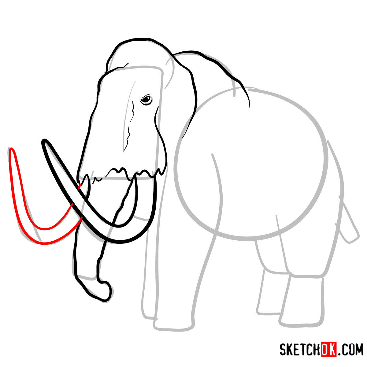 How to draw a Woolly mammoth | Extinct Animals - step 07
