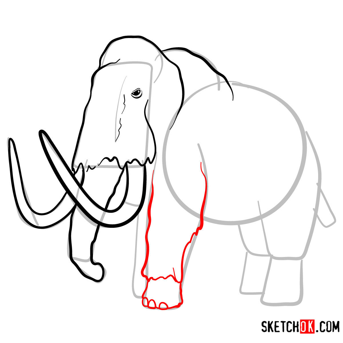 How to draw a Woolly mammoth | Extinct Animals - step 08