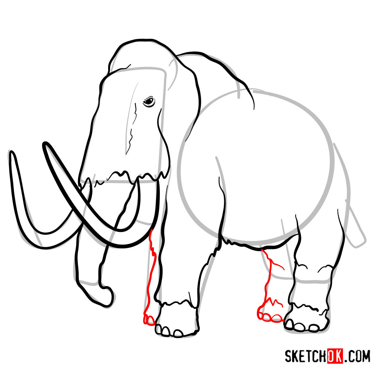 How to draw a Woolly mammoth | Extinct Animals - step 10