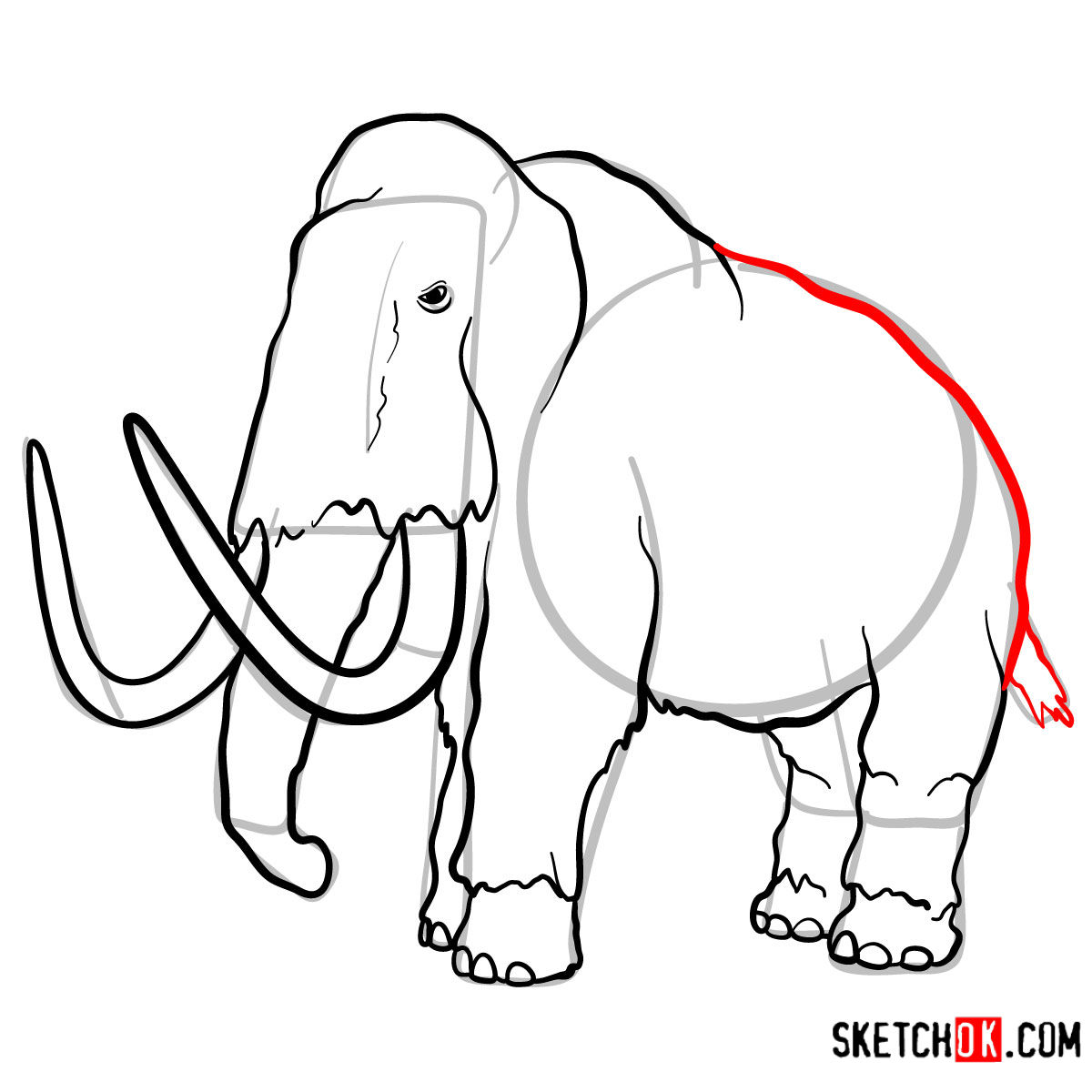 How to draw a Woolly mammoth | Extinct Animals - step 11