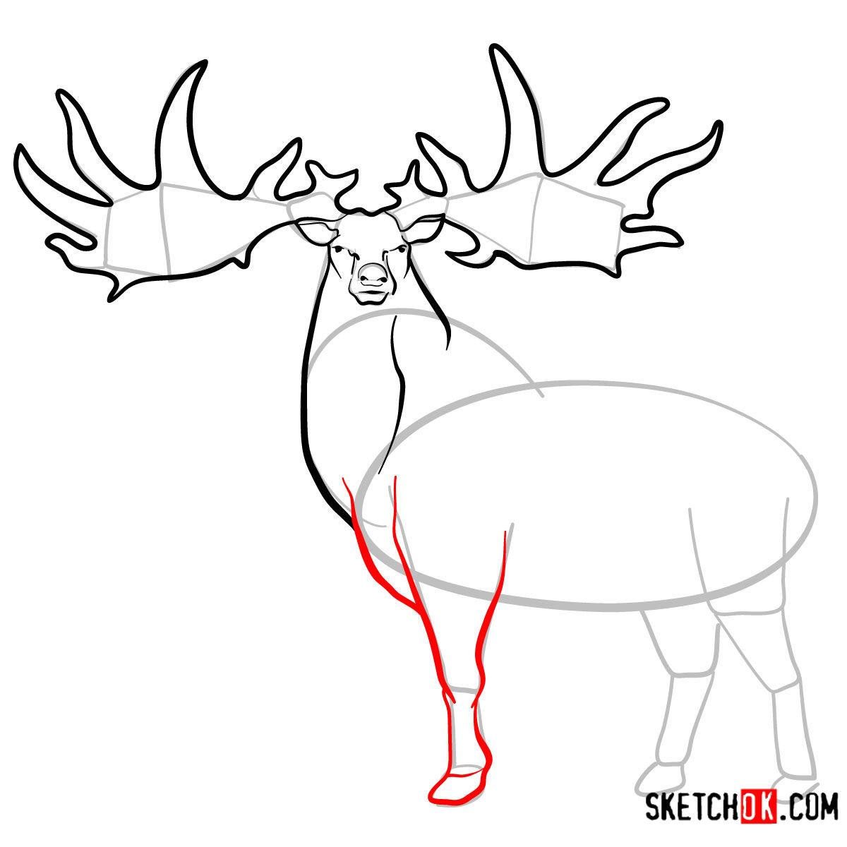 How to draw an Irish elk | Extinct Animals - step 08