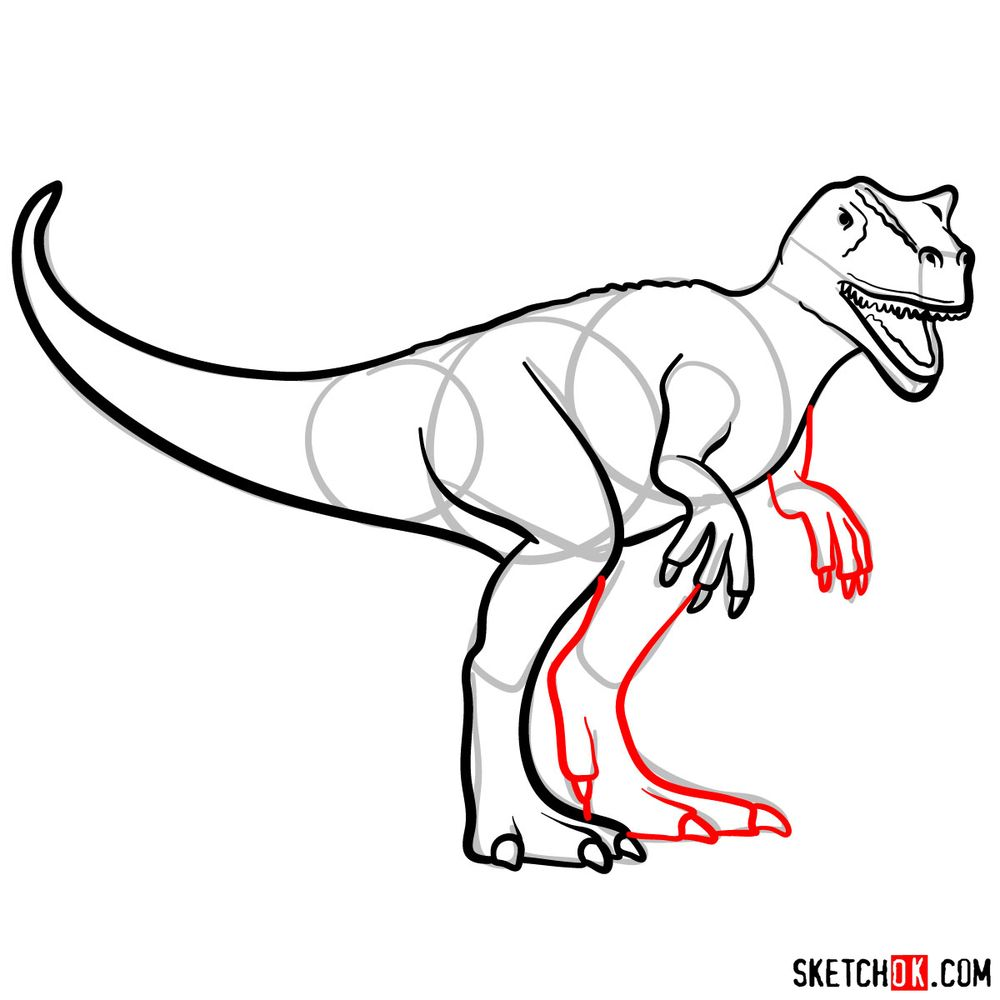 How to draw an allosaurus - step 08