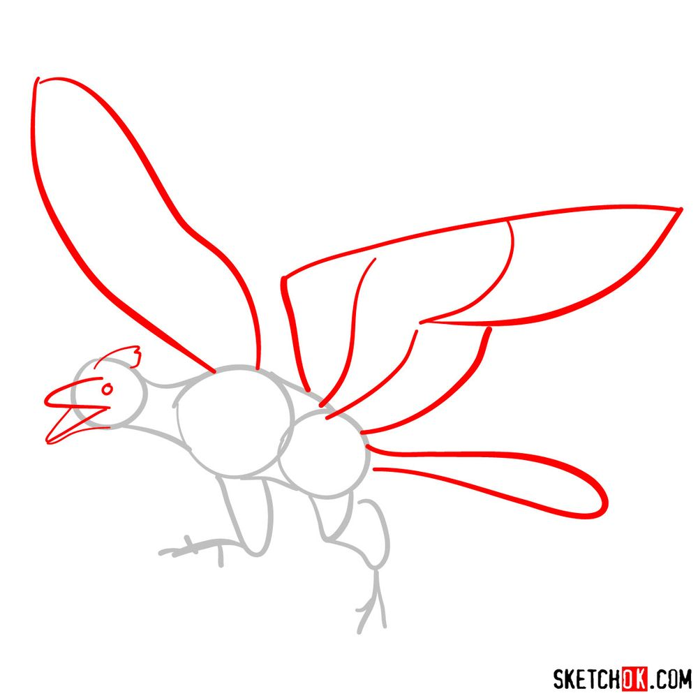 How to draw an archaeopteryx - step 02
