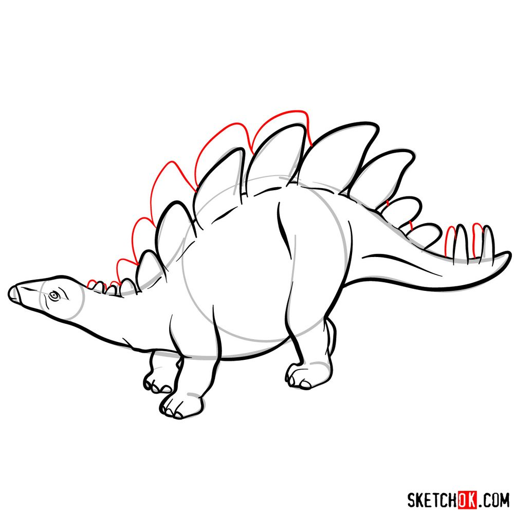 How to draw a stegosaurus - step 09