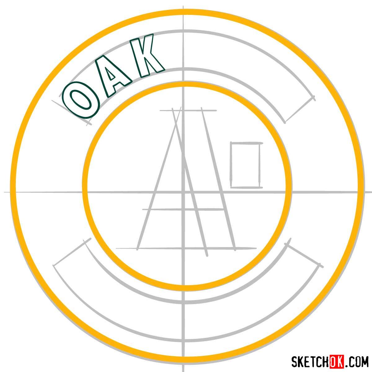 How to draw Oakland Athletics logo | MLB logos - step 04