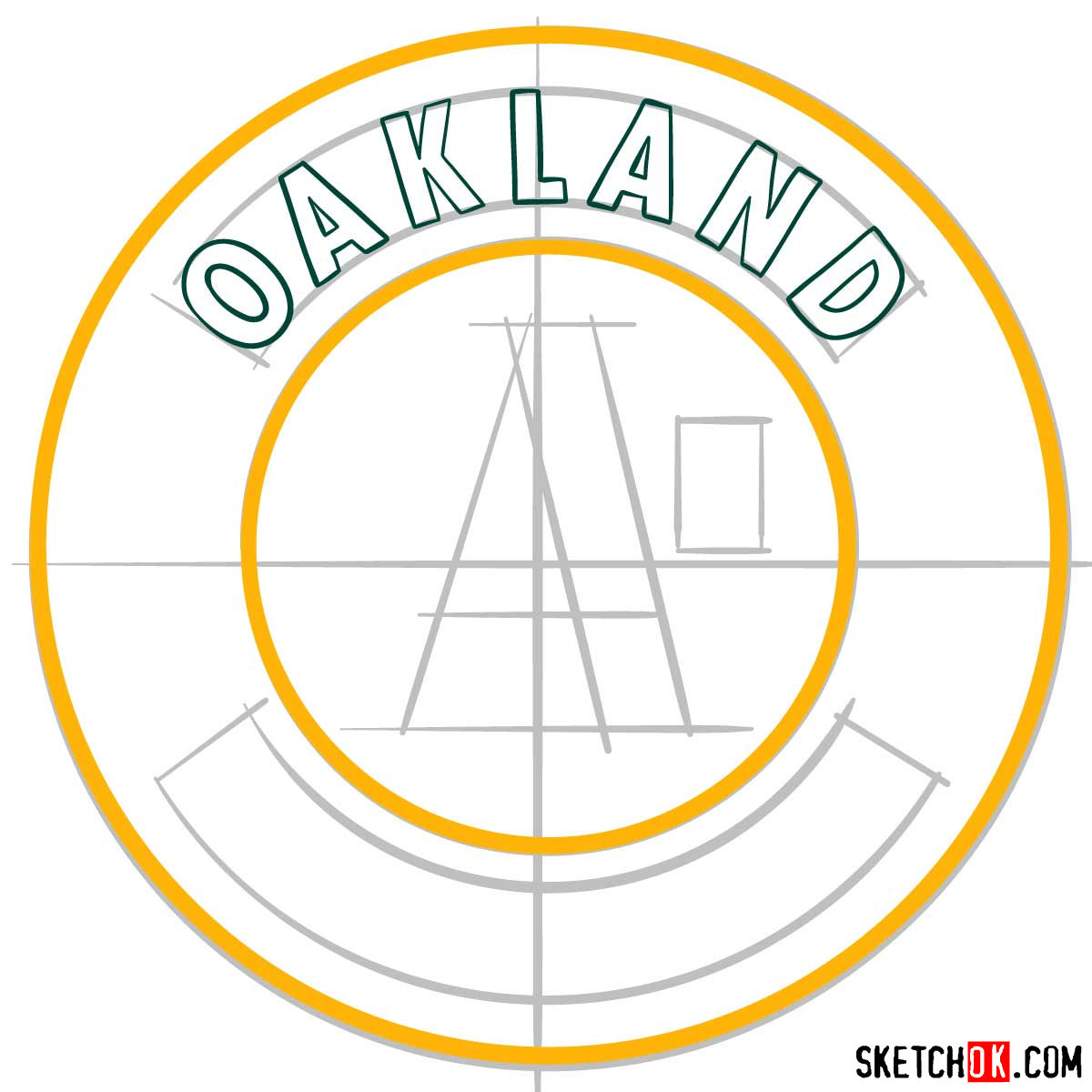 How to draw Oakland Athletics logo | MLB logos - step 05