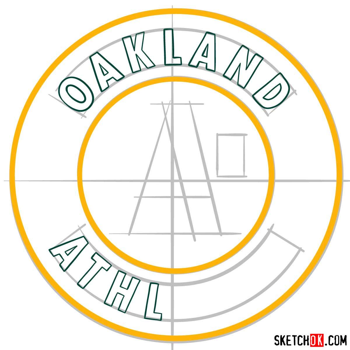 How to draw Oakland Athletics logo | MLB logos - step 06