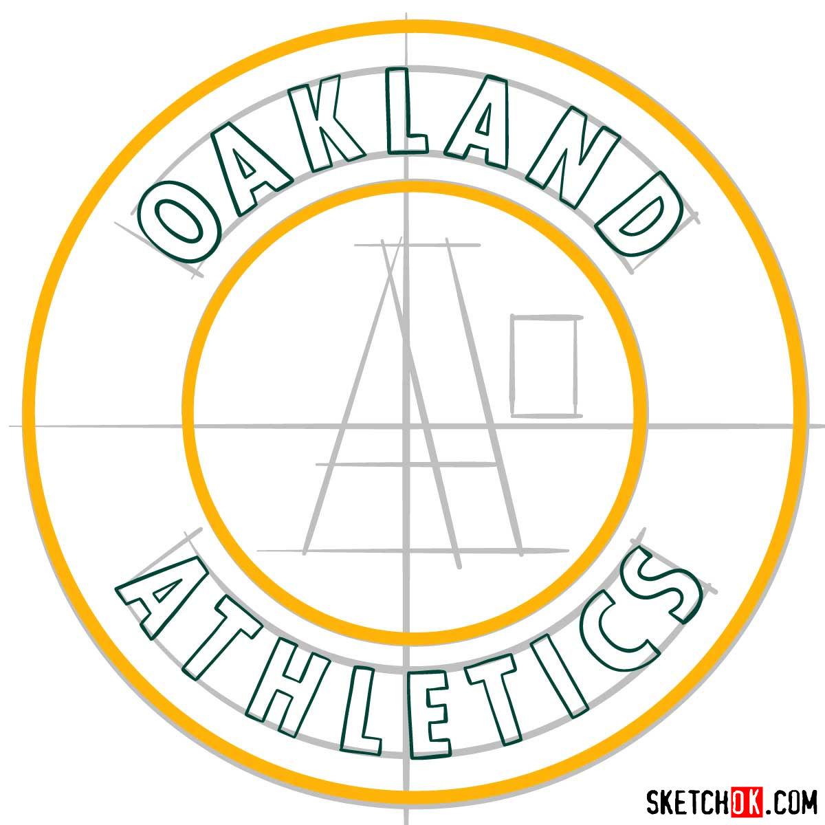 How to draw Oakland Athletics logo | MLB logos - step 07