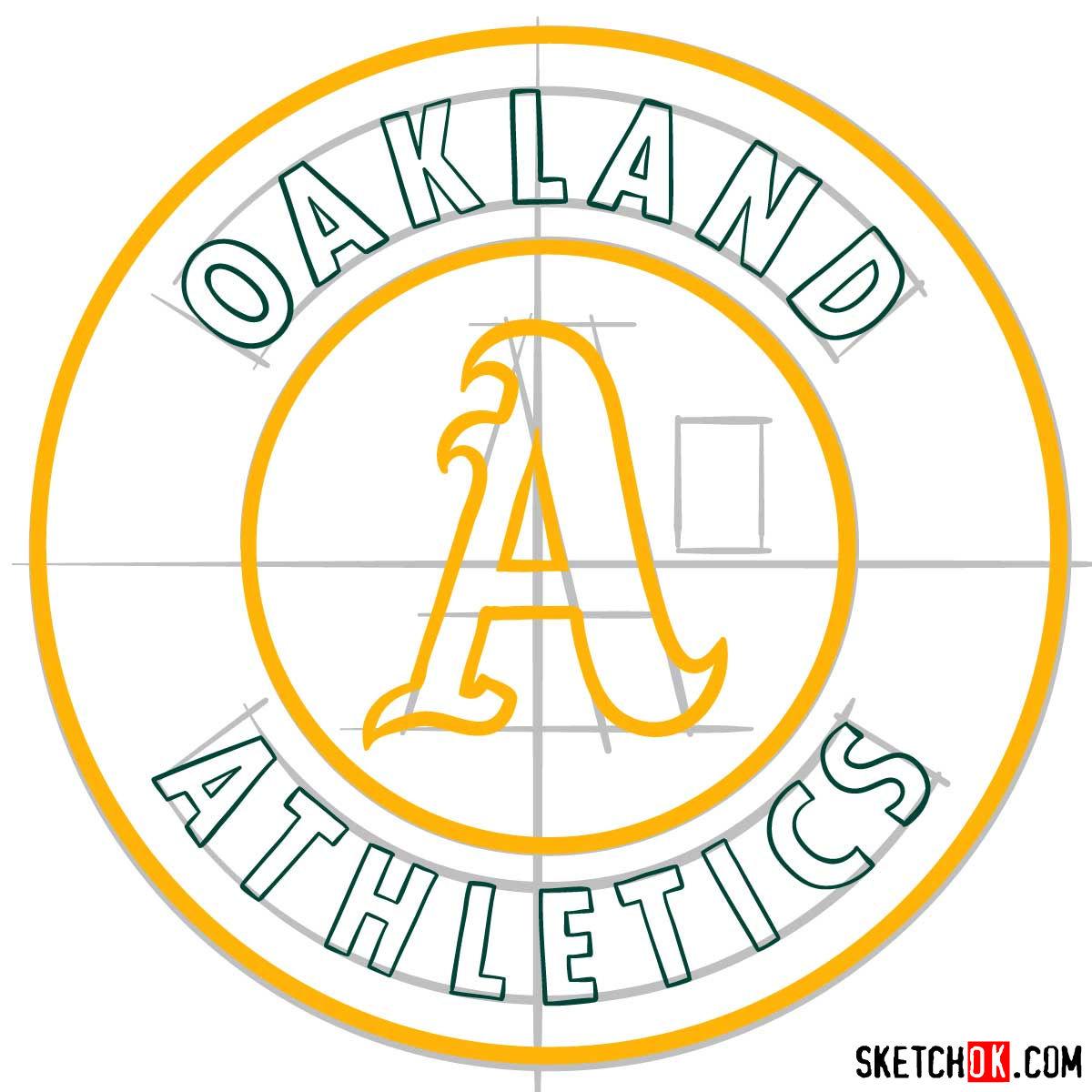 How to draw Oakland Athletics logo | MLB logos - step 08