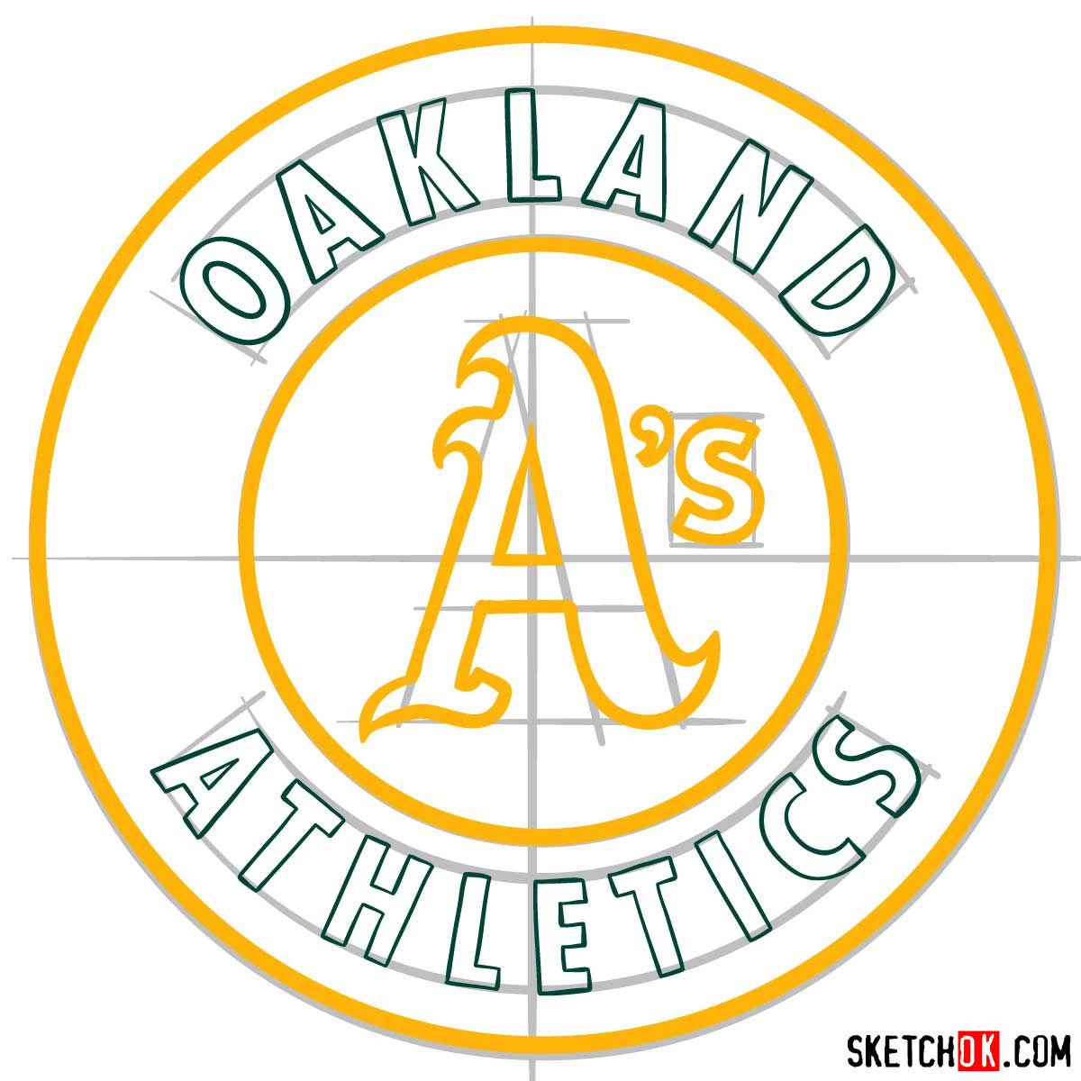 How to draw Oakland Athletics logo | MLB logos - step 09
