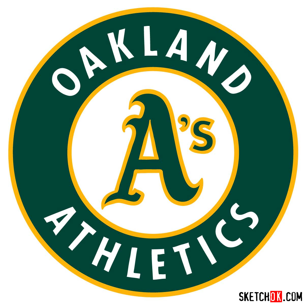 How to draw Oakland Athletics logo | MLB logos