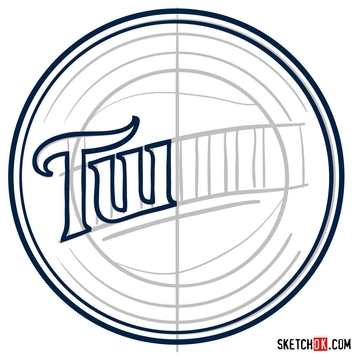 How to draw Minnesota Twins logo   MLB logos - step 04