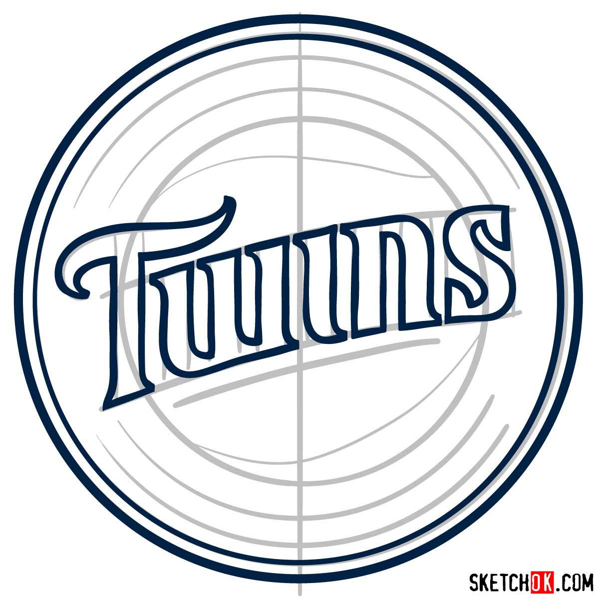 How to draw Minnesota Twins logo   MLB logos - step 05