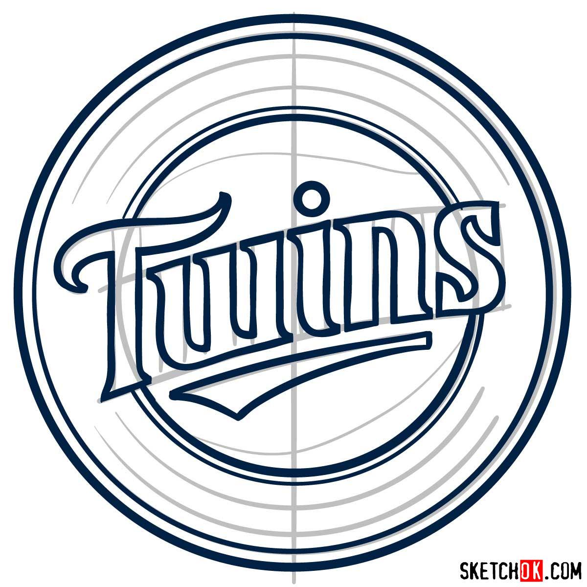 How to draw Minnesota Twins logo   MLB logos - step 06