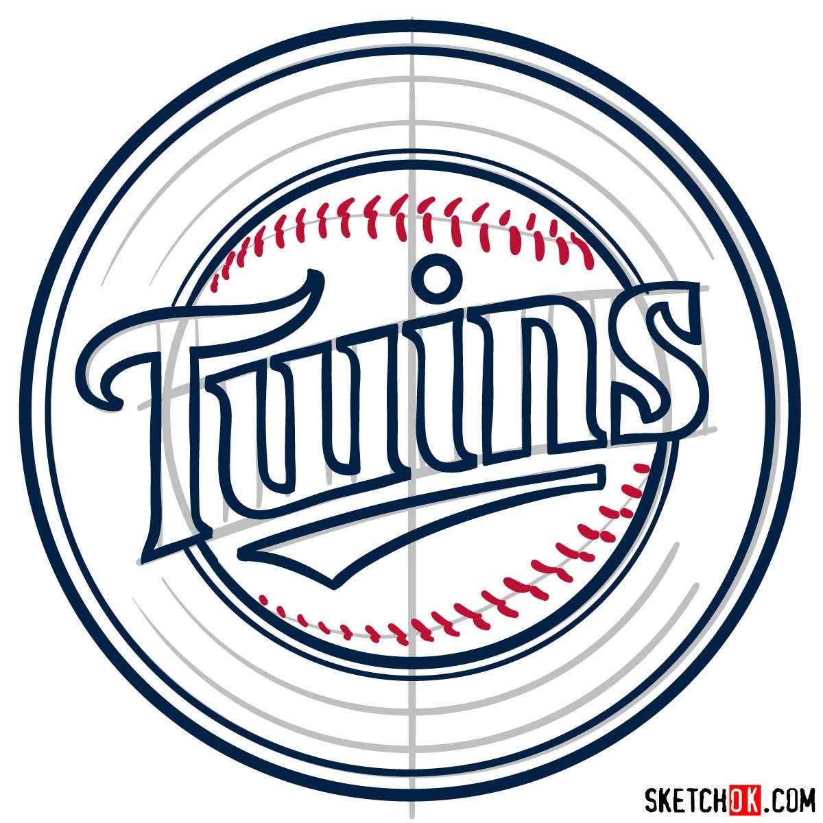 How to draw Minnesota Twins logo   MLB logos - step 07