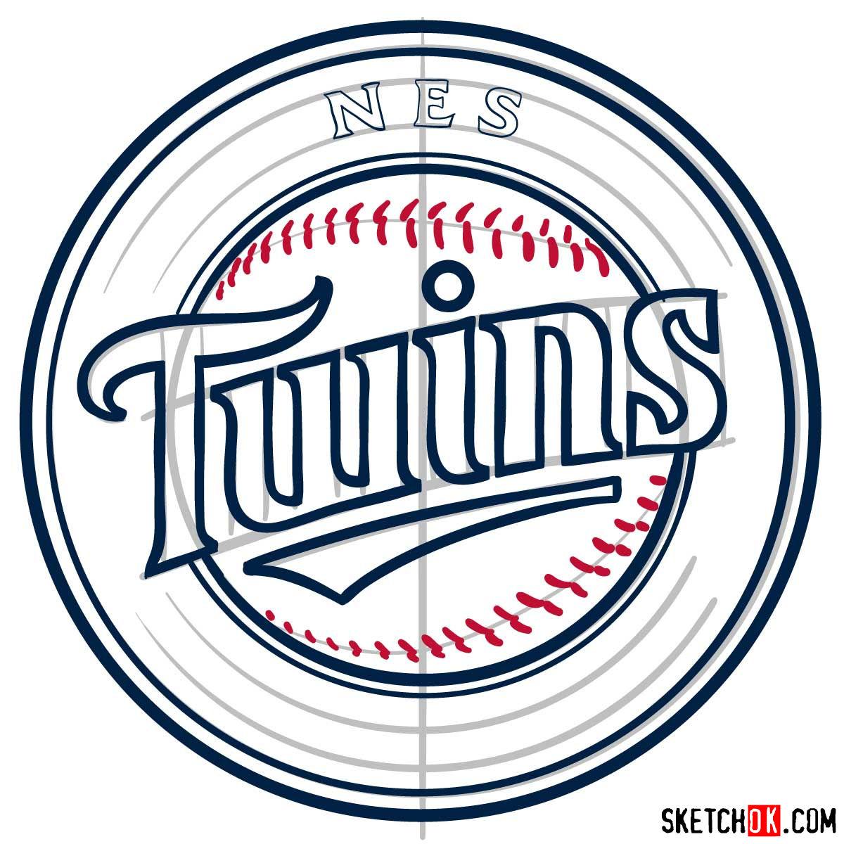 How to draw Minnesota Twins logo   MLB logos - step 08