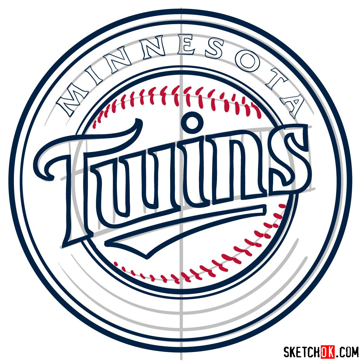 How to draw Minnesota Twins logo   MLB logos - step 09