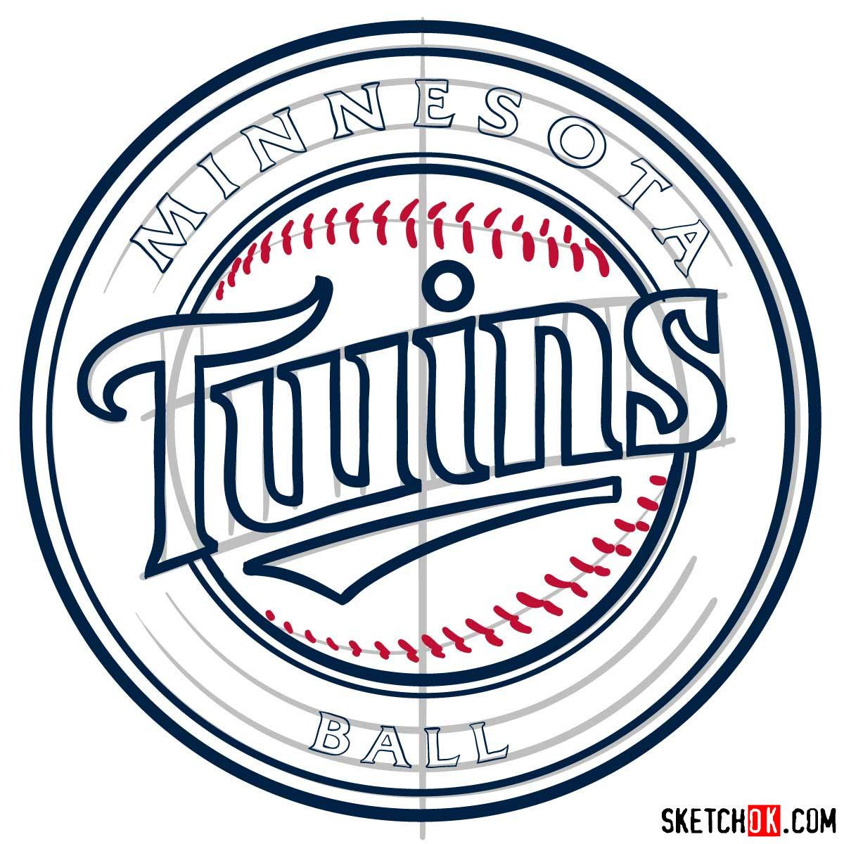 How to draw Minnesota Twins logo   MLB logos - step 10