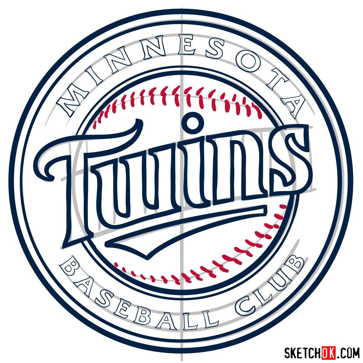 How to draw Minnesota Twins logo   MLB logos - step 11