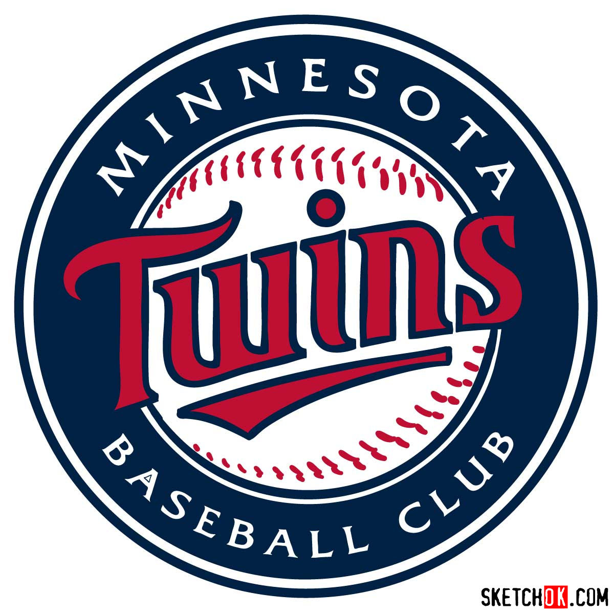 How to draw Minnesota Twins logo | MLB logos - coloring