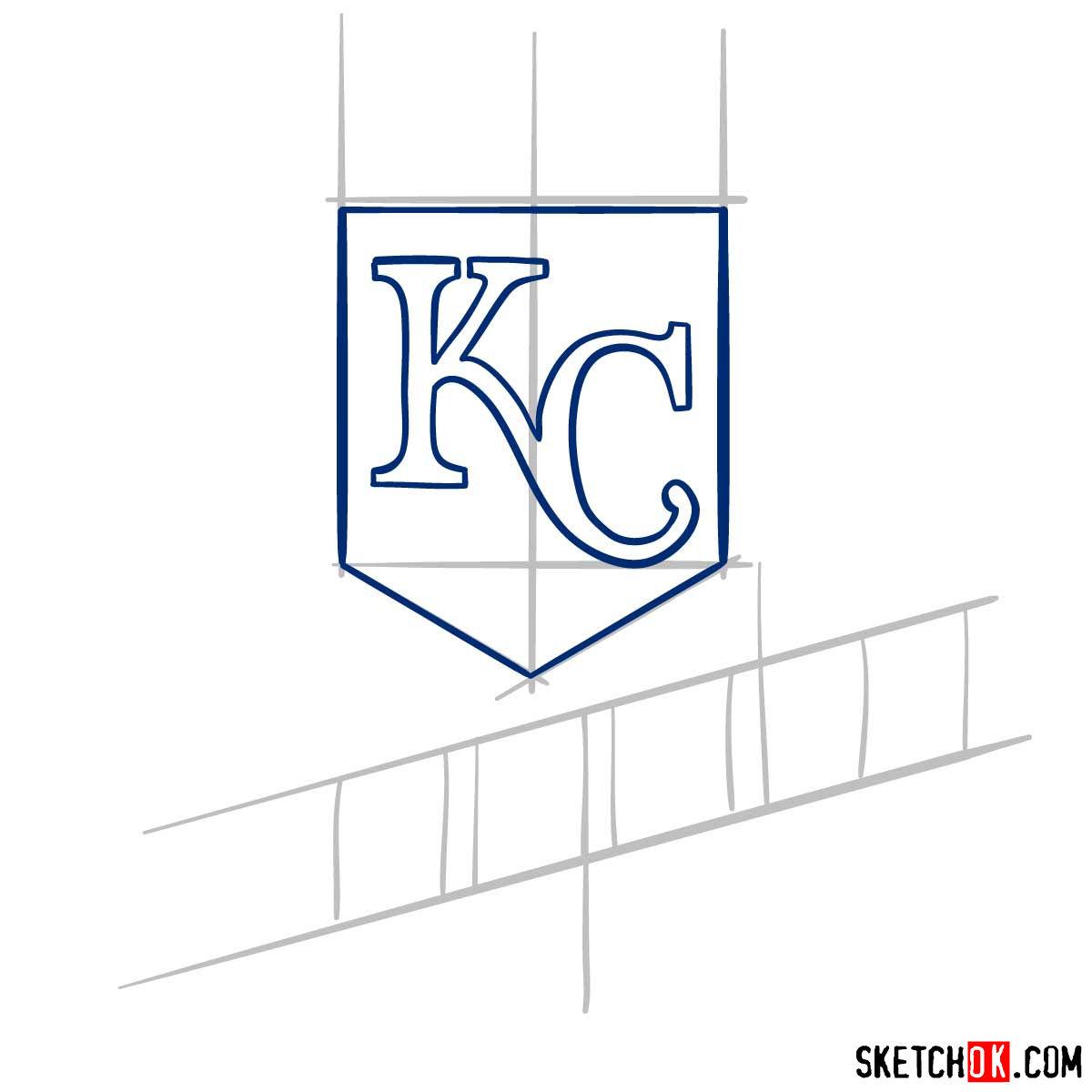 How to draw Kansas City Royals logo | MLB logos - step 04