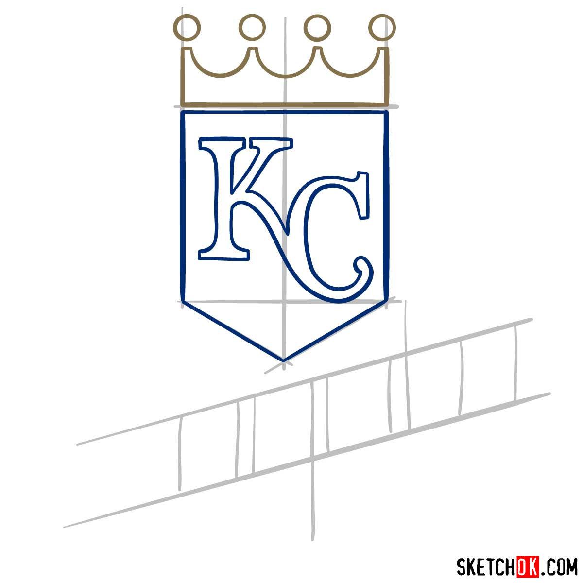 How to draw Kansas City Royals logo | MLB logos - step 05