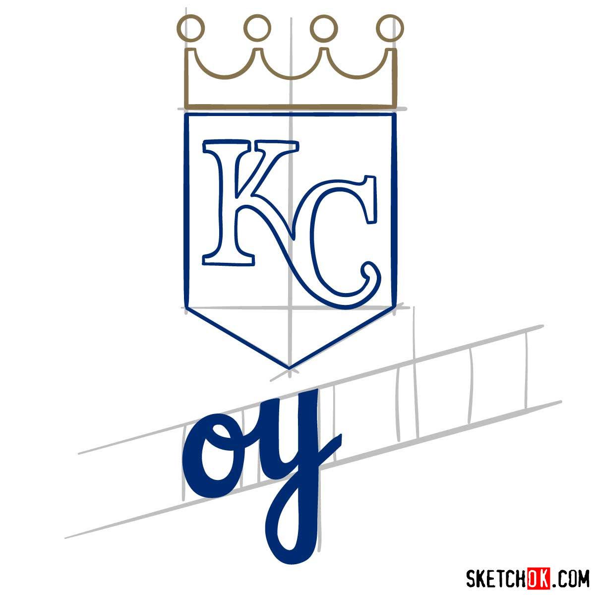 How to draw Kansas City Royals logo | MLB logos - step 06
