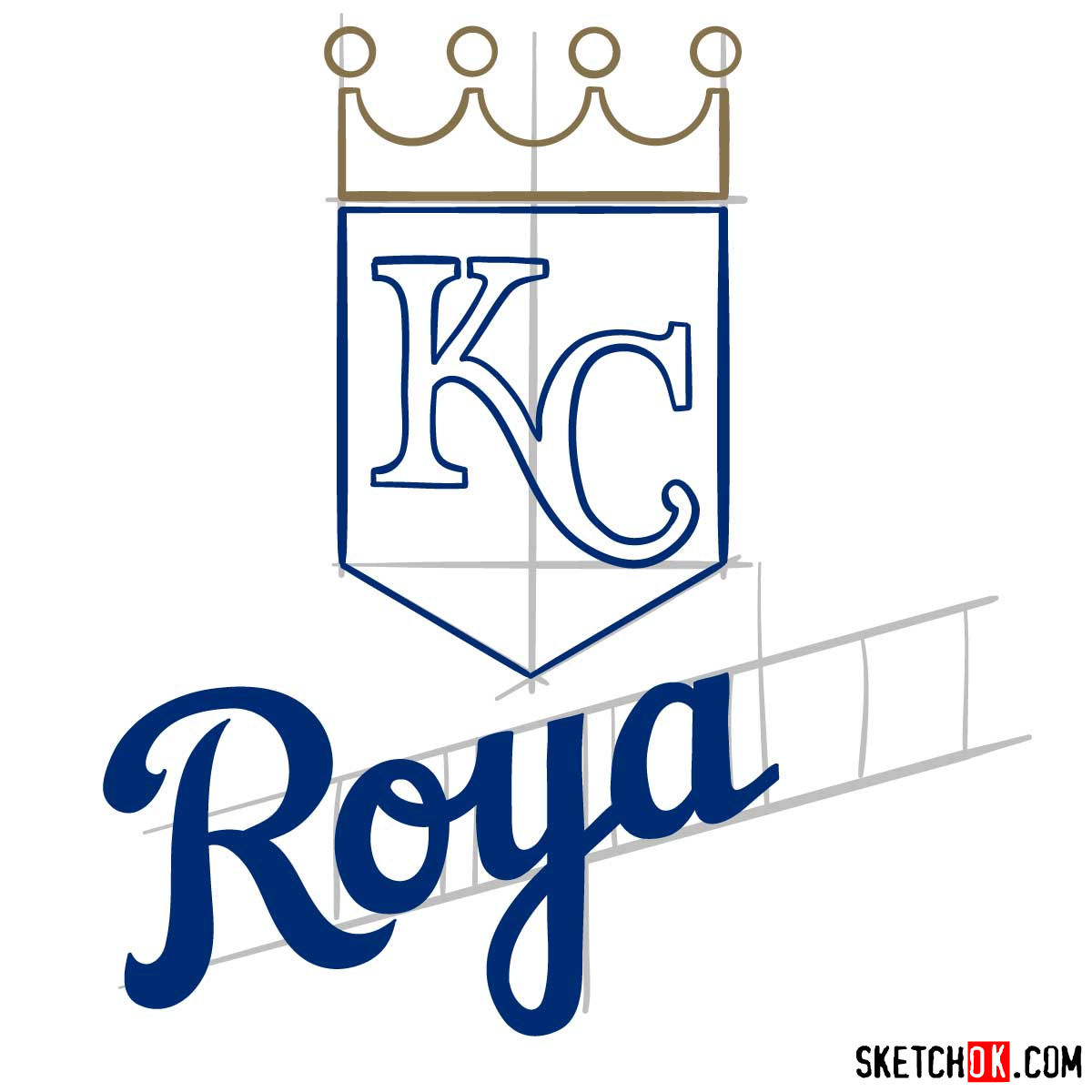 How to draw Kansas City Royals logo | MLB logos - step 07
