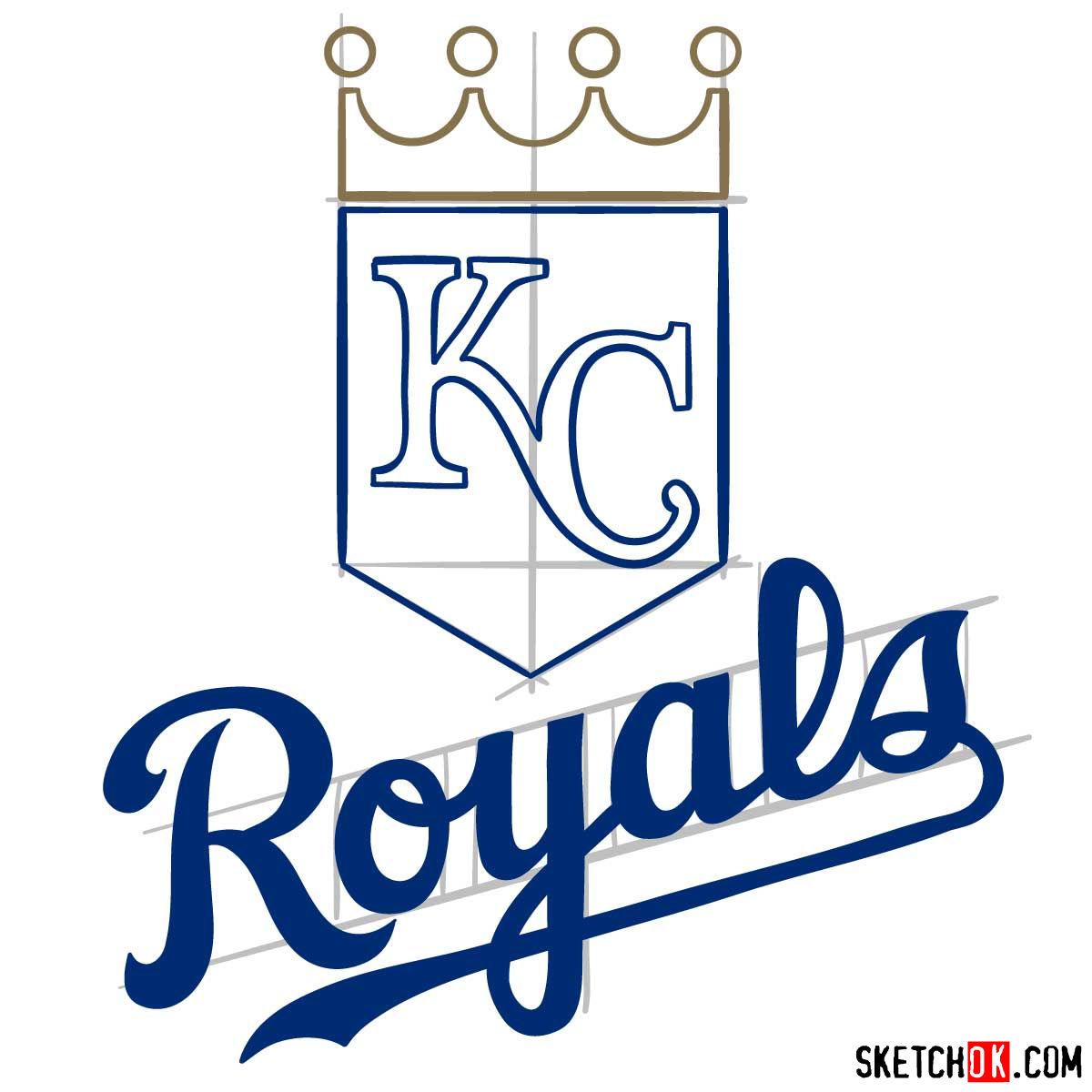 How to draw Kansas City Royals logo | MLB logos - step 08