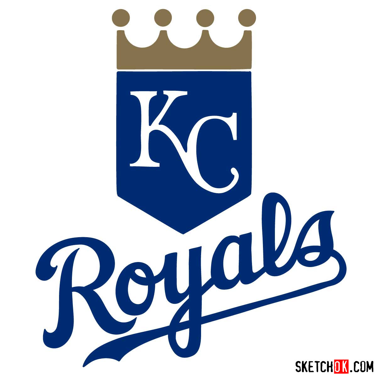 How to draw Kansas City Royals logo | MLB logos