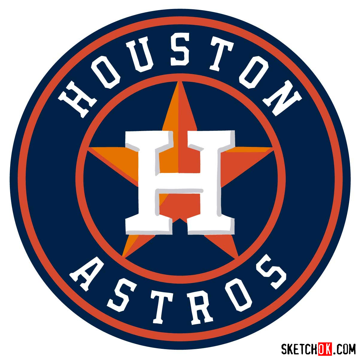 How to draw Houston Astros logo | MLB logos