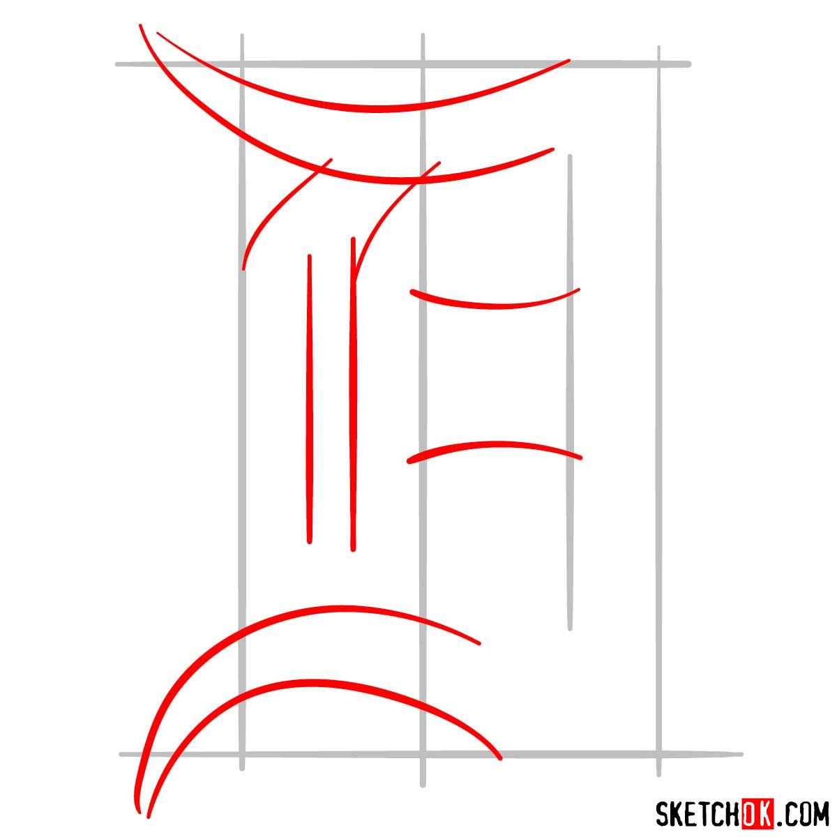 How to draw Detroit Tigers logo | MLB logos - step 02