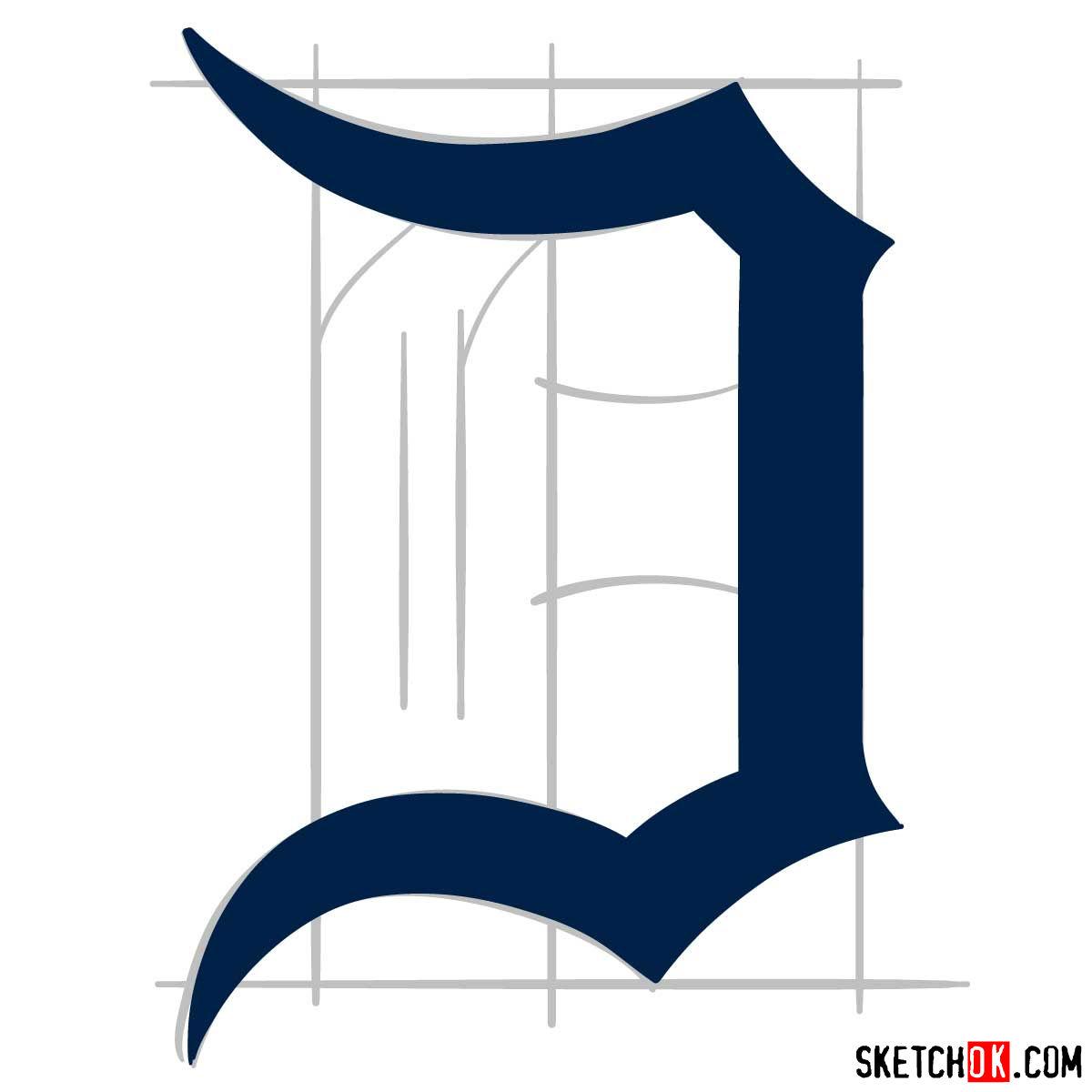 How to draw Detroit Tigers logo | MLB logos - step 05