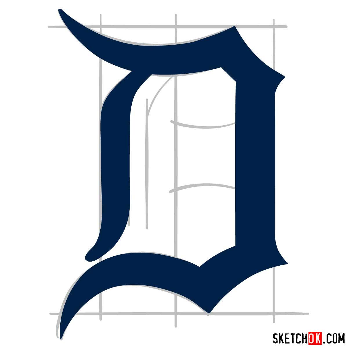 How to draw Detroit Tigers logo | MLB logos - step 06