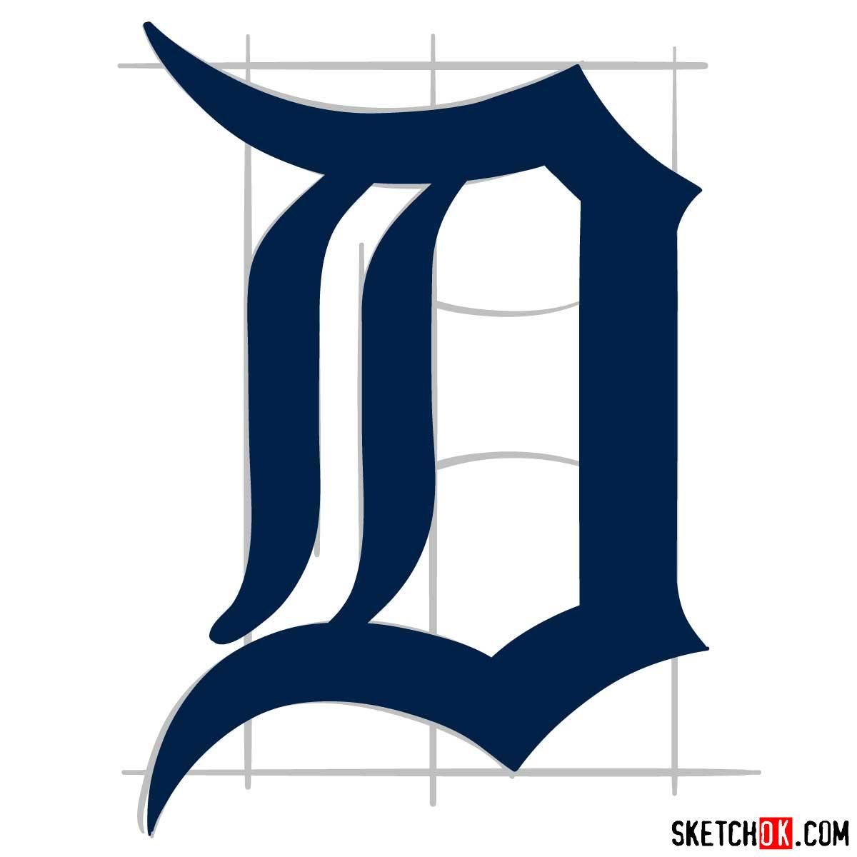 How to draw Detroit Tigers logo | MLB logos - step 07