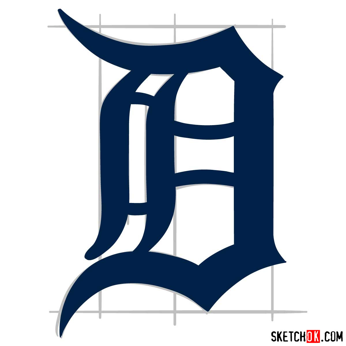 How to draw Detroit Tigers logo | MLB logos - step 08