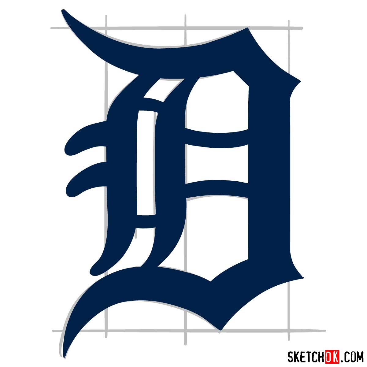 How to draw Detroit Tigers logo | MLB logos - step 09