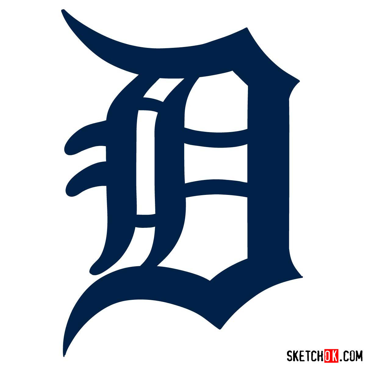 How to draw Detroit Tigers logo | MLB logos