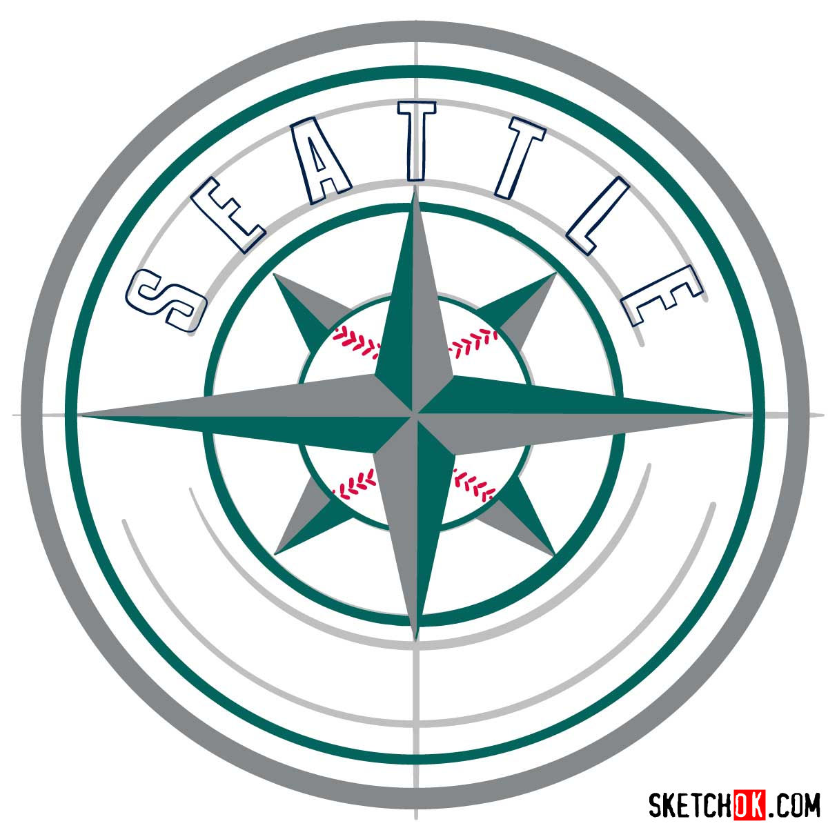 How to draw Seattle Mariners logo | MLB logos - step 10